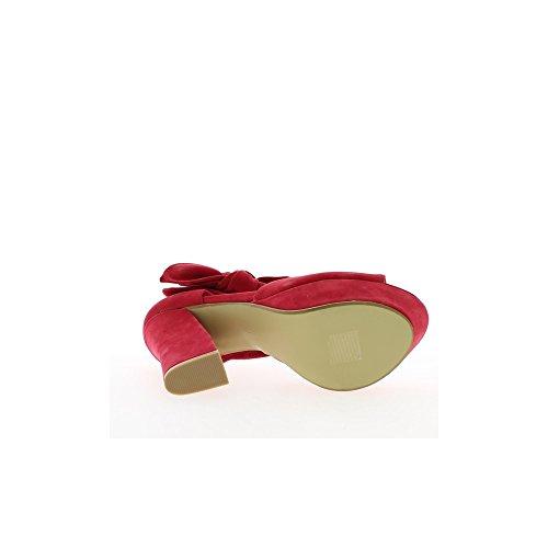 Sandales rouges à talon de 13cm et plateforme