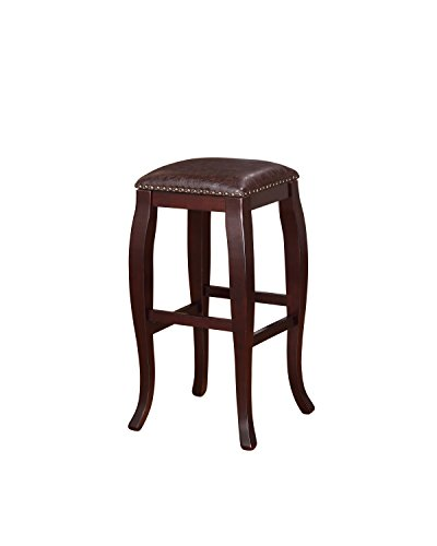 Linon San Francisco Square Top Bar Stool, Brown