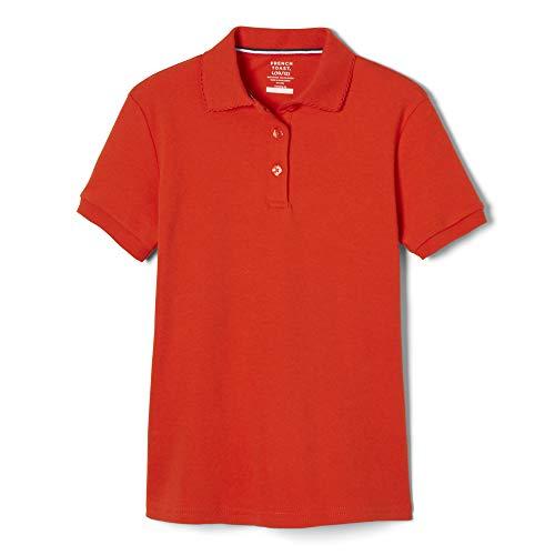 (French Toast Big Girls' Short Sleeve Interlock Polo with Picot Collar, Orange, X-Large/14/16)