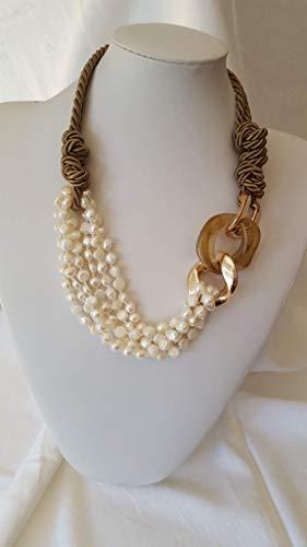 prezzo più basso de759 04406 Collana perle e resina, collana artigianale, collana perle di fiume,