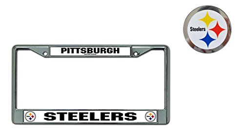 Rico Official National Football League Fan Shop Licensed NFL Shop Authentic Chrome License Plate Frame and Colored Auto Emblem (Pittsburgh Steelers)