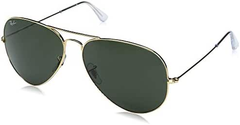 Ray-Ban 0RB3025 Aviator Metal Non-Polarized Sunglasses, Gold/ Grey Green, 62mm