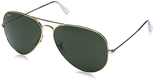 Ray-Ban Aviator Classic, Gold/ Grey Green, 62 - Aviator Ban Lenses Ray Plastic