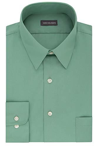 (Van Heusen Men's Dress Shirt Fitted Poplin Solid, Leaf, 16