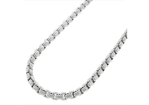 Verona Jewelers 925 Sterling Silver 4MM 5MM Italian Solid Round Box Link Bracelet- Box Link Chain for Men, Rhodium Box Chain Bracelet, Venetian Chain, Round Link Chain Bracelet 8, 9 (30, 4MM)