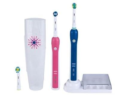 Oral-B Professional Care 3000 Limited Design - Cepillo de dientes eléctrico (Batería, 2 piezas) Azul, Rosa, Color blanco