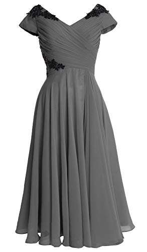 Neck Macloth Dress Sleeve V Mother Wedding Cap Party Gray Gown Women Of Midi Bride prrnq1wEx