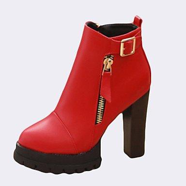 TOU Poliuretano PU Da donna Nero red Rosso Casual Quadrato eu39 CH Comoda uk6 Stivaletti cn39 us8 1wqxC1d8