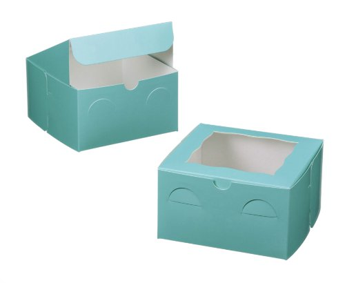 Dress My Cupcake Window Cupcake Box with Lid and Holder for 4 Mini Cupcakes, Tiffany Blue/White, Set of 100