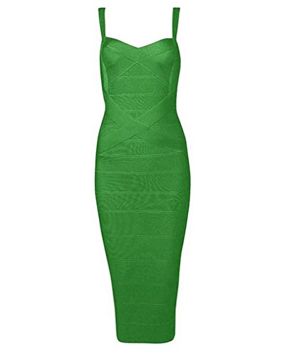 - Whoinshop Women's Rayon Strap Celebrity Midi Evening Party Bandage Dress(M, Dark Green)
