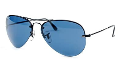 01f7dcd3fc3 low cost ray ban rimless aviator sunglasses rb3214 matte black apx blue  708fd 11e0b