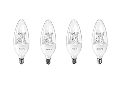 Philips LED B12 Dimmable Candle Light Bulb with Warm Glow Effect: 500-Lumen, 2700-2200 Kelvin, 7-Watt (60-Watt Equivalent), E12 Candelabra Base, Soft White, 4-Pack