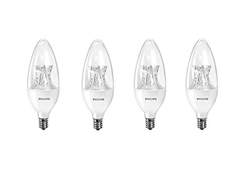 Philips LED Dimmable B12 Soft White Light Bulb with Warm Glow Effect 500-Lumen, 2700-2200-Kelvin, 7-Watt (60-Watt Equivalent), E12 Base, Clear , 4-Pack
