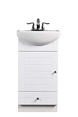 Small Bathroom Vanity Cabinet And Sink White - Pe1612w New Petite Vanity