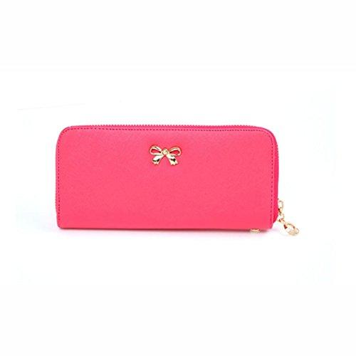 Pink Wearable Perman Bowknot Cute Leather Hot PU Handbag Women New Wallet Lady Solid Korean Purse 6wr6zgq