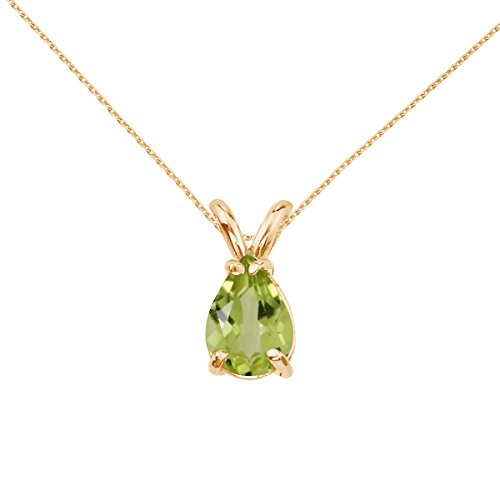 14k Yellow Gold Pear Shaped Peridot Pendant with 18