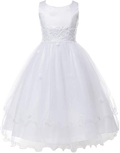 Flower Girl Dress First Communion Sleeveless Embroidery Tulle Dress Big Girl White 18.5 KD.198 ()