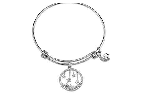 en's Stainless Steel Crystal Moon Expandable Bracelet - Silver (8