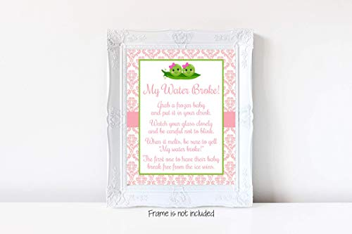 Two Peas in a Pod My Water Broke, Twins Baby Shower, Twins Girls Baby Shower, Two Peas Baby Shower, Baby Shower Game, My Water Broke Game Sign, Baby Shower, 8x10 Glossy Sign -