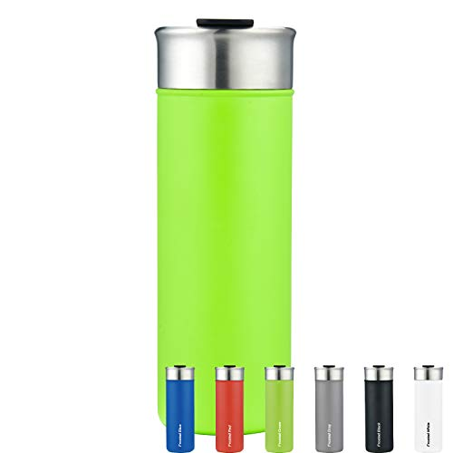 NuFazes 18 Oz Double Walled Stainless Steel Tumbler w/Sliding Lid - Vacuum Insulated Copper Lined (Keeps HOT/Cold for 12/24 Hours) for Travel, Coffee, Drinks -  SUNM4023-Frosted Lime Green