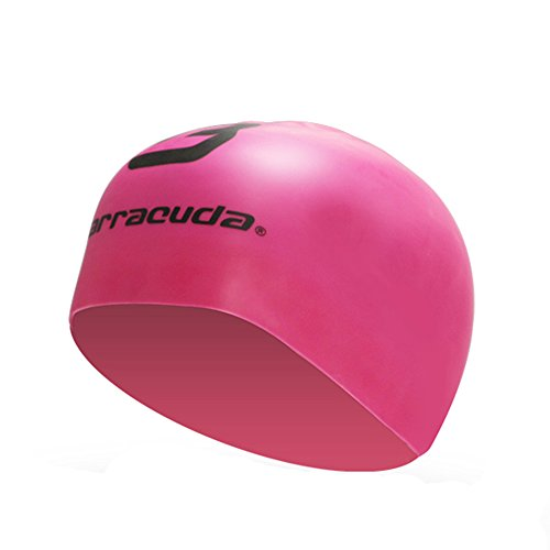 Barracuda Accessories 3D Silicone Cap (Standard Logo) - Waterproof Wrinkle Free Silicone, Solid Color, Comfortable Lightweight Professional for Adults Men Women Teens (PNK)