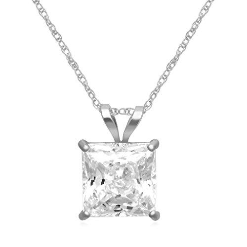 White Zirconia Pendant (Jewelili 10KT White Gold Cubic Zirconia Pendant Necklace, 18