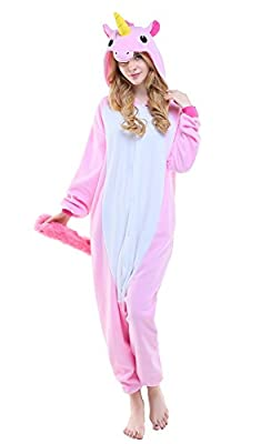 NEWCOSPLAY Purple Pegasus Unisex Adult Onesies Pajamas Halloween Costumes (M, Pink Unicorn)