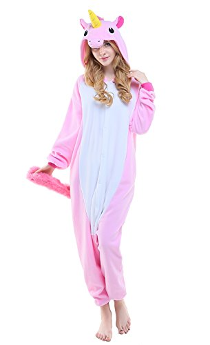 NEWCOSPLAY Unisex Adult Unicorn Pyjamas Halloween Costume (M, New Pink -