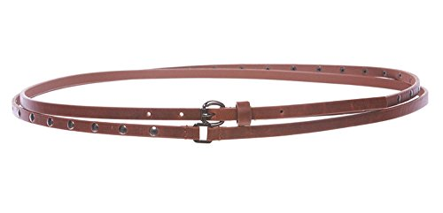 al Finish Skinny Studded Double Wrap Chic 10mm Wide Belt,Tan M/M - 36 (Skinny Double Wrap)