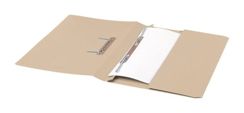 5 Star Transfer Spring File with Pocket 315gsm 38mm Foolscap Buff [Pack of 25] by 5 Star
