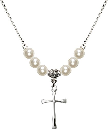 18-Inch Rhodium Plated Necklace with 6mm Faux-Pearl Beads and Sterling Silver Maltese Cross (Pearl Maltese Cross)