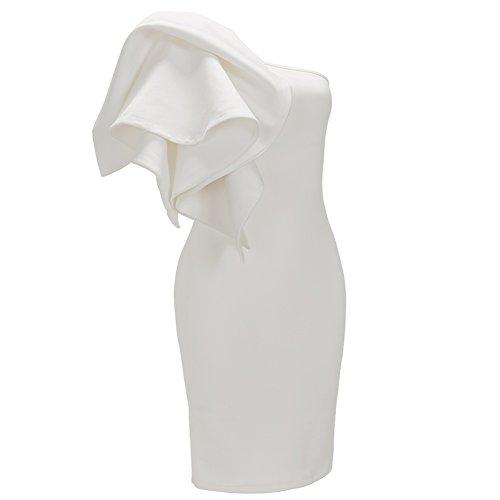 Bodycon4u Une Robe De Cocktail Épaule Blanc Femmes