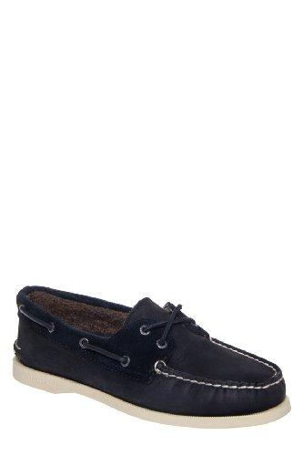 Sperry Top-Sider Women's A/O 2 Eye Black/Buck/Black (Teddy Fleece) Boat Shoe 6 M (B)