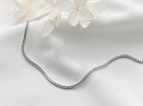 Hong TTH 100/% Real Tennis Choker Short Necklace Pendant CZ GTLX1469 925 Sterling Silver Fine Jewelry 2MM Prong White CZ Stone AAA