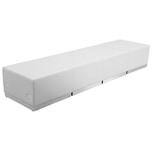 - Flash Furniture HERCULES Alon Series Melrose White Leather Reception Configuration, 4 Pieces