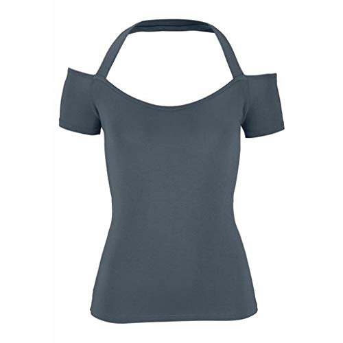 WDTSA Women's Sweatshirt Simple Comfortable Hanging Neck Backless Sport Top