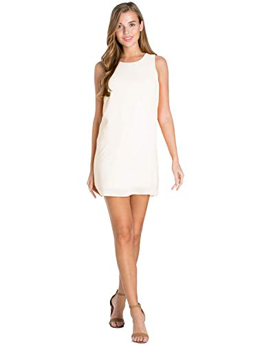 Design by Olivia Women's Boat Neck Sleeveless Back Zipper Attached Audrey Shift Dress Off-White S
