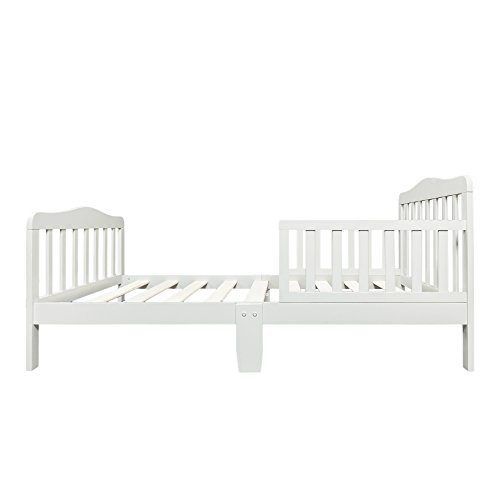 Teekland Wooden Baby Toddler Bed Children Bedroom Furniture with Safety Guardrails Gray