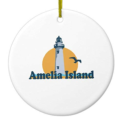 - Ditooms Amelia Island - Lighthouse Design. Ceramic Ornament Circle 3 Inches