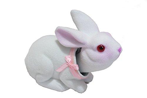 Charming Bobblehead Bunny Rabbit with Car Dashboard Adhesive (White) ()