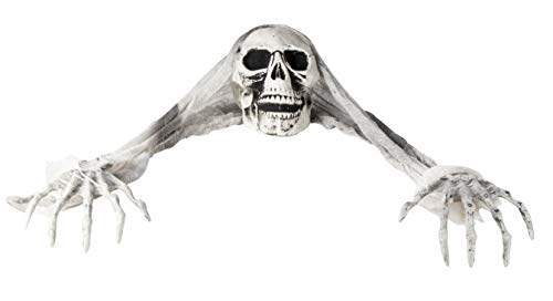 Halloween Skeleton Groundbreaker Decor - Creepy Skull and Witch Hands Party Decoration, Indoor Outdoor Lawn Yard Display, Graveyard Prop, 30.5 x 6 x 7 Inches -