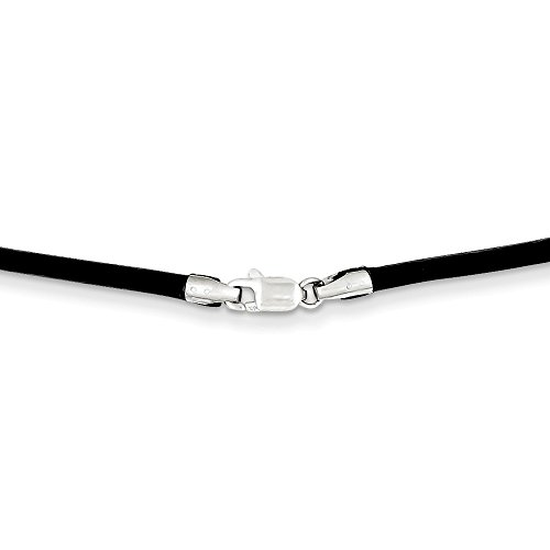 14k White Gold 2mm 16 Inch Black Leather Link Cord Chain Necklace Pendant Charm Fine Jewelry Gifts For Women For - Mm Leather Necklace 2