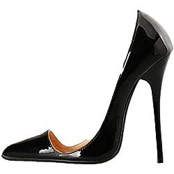 Fanatical-Night Pointed Toe Sexy High Heels Women Pumps 13CM Women Shoes,Black,14