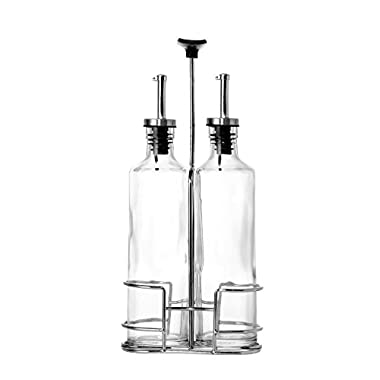 Glass Cruets / Oil & Vinegar Dispensers with Portable Caddy Stand - 3 Piece Set - 12 oz