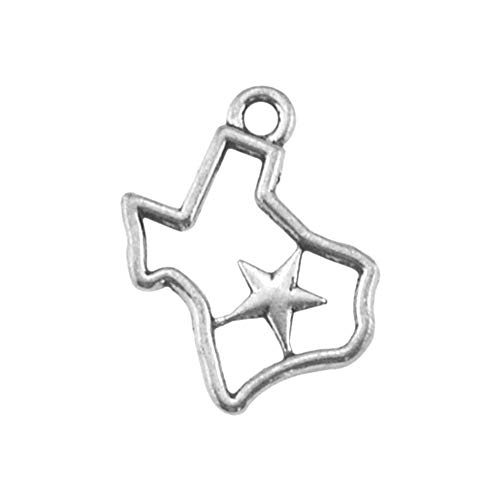 30pcs Texas Map of Star Charm Pendant for DIY Necklace Bracelet Jewelry Making