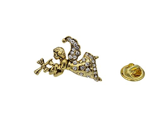 Hark The Herald Angel Two Tone Tie Tac Pin Vintage Antique Style with Clear Rhinestones