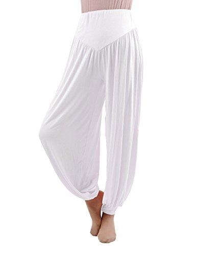 HOEREV Brand Super Soft Modal Spandex Harem Yoga Pilates Pants,White,X-Large from Hoerev