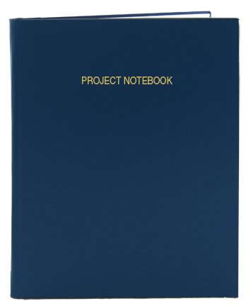 BookFactory Blue Project Notebook - 96 Pages (.25'' Ruled Format), 8'' x 10'', Blue Imitation Leather Cover, Smyth Sewn Hardbound (LIRPE-096-SLR-A-LBT8) by BookFactory