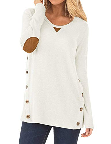 LYXIOF Women Pullover Long Sleeve Faux Suede Button Tunic Tops Casual Loose Sweatshirts White XL ()