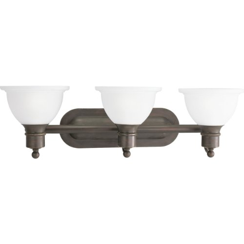 (Progress Lighting P3163-20 3-Light Wall Bracket with White Etched Glass, Antique Bronze)